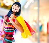 foto of mall  - Fashion Shopping Girl Portrait - JPG