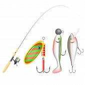 Fishing Rod, Reel And Lures. Vector Illustration