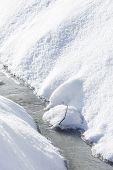 Gefrorenes Wasser In Graben im Winter