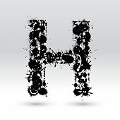 Letter H Formed By Inkblots