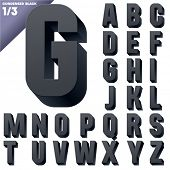 Three-dimensional condensed alphabet. Vector illustration of 3d font characters. Clear color style.