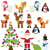 Vector Set of Christmas Animals, Santa Claus and Tree