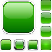 Set of blank green square buttons for website or app. Vector eps10.