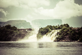 stock photo of canaima  - Waterfall and the lagoon of Canaima national park  - JPG