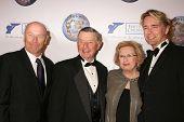 Corbin Bernsen and Larry Jones with Frances Jones and John Schneider  at the 2008 World Magic Awards. Barker Hanger, Santa Monica, CA. 10-11-08