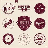 Set of Vintage styled design Hipster icons. Vector illustration background