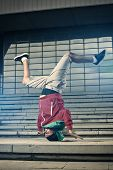 Breakdancer Performer Doing Head Stand