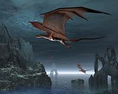 stock photo of moonlit  - Red dragons flying over strange islands in a calm moonlit sea - JPG