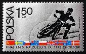 Postage Stamp Poland 1973 Motorcyclist