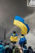 Kiev, Ukraine - January 25, 2014: Mass Anti-government Protests In The Center Of The Ukrainian Capit