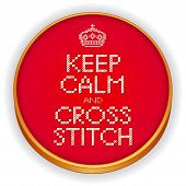 pic of cross-hatch  - Retro wood embroidery hoop with needlework sewing design - JPG