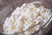 White Cottage Cheese Close-up In Glass Bowl