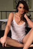 picture of camisole  - Beautiful tall brunette dressed in a white camisole - JPG