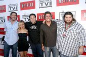 L-R Zachary Levi, Hayden Panettiere, Greg Grunberg, Bob Guiney, and Jorge Garcia  at 'Band From TV' Presented by Netflix Live. The Autry National Center Of The American West, Los Angeles, CA. 08-09-08