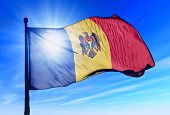 Moldova flag waving on the wind