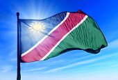 Namibia flag waving on the wind