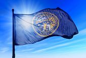Nebraska (USA) flag waving on the wind