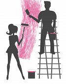 Silhouettes Of Two People Painting A Blank Wall