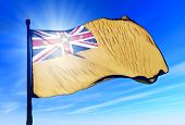 Niue flag waving on the wind