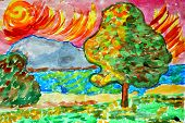 landscape watercolor nature trees water summer tree forest river
