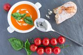 Tomato Soupe On Grey Background