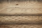wooden background texture and fishing net