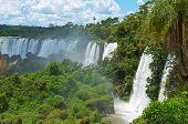 picture of cataract  - Iguassu waterfalls bordering Argentina Brazil world - JPG
