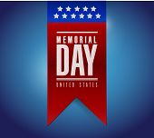 stock photo of memorial  - memorial day banner sign illustration design over a blue background - JPG