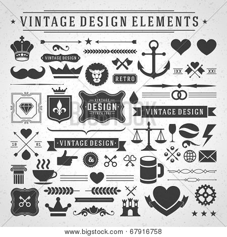 Vintage vector design elements. Retro style golden typographic labels,  tags, badges, stamps, arrows poster