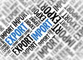 Marketing background with the words - Import Export - repeated in random sizes and orientations in b