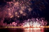 The Fireworks And A Laser Show In The Waters Of The Neva River In St. Petersburg