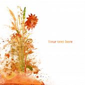 watercolor autumn card, on a white background