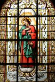 PARIS, NOV 07: St. John the Evangelist, stained glass, church of St. Elizabeth is situated in the 3r