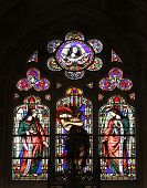 PARIS, FRANCE - NOV 11, 2012: Saint Maria Magdalena, stained glass from Church of St-Germain-l'Auxer