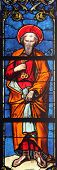 PARIS, FRANCE - NOV 11, 2012: Saint Peter apostle, stained glass from Church of St-Germain-l'Auxerro