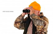 close-up of a Search & Rescue team member looking for lost hunter, isolated on white with copy space