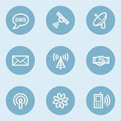 Communication web icons,  blue buttons