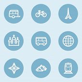 Travel  web icon set 2,  blue buttons