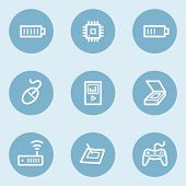 Electronics web icon set 2,  blue buttons