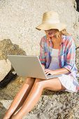 Pretty blonde using laptop at the beach on a sunny day