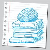 Brain on book pile