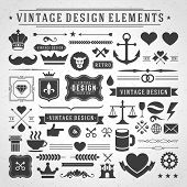 Vintage vector design elements. Retro style golden typographic labels,  tags, badges, stamps, arrows and emblems set.
