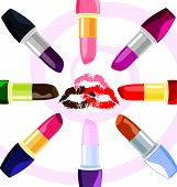 abstract lips and  lipsticks