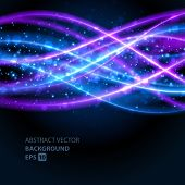 Abstract waves vector background. Energy light lines design.