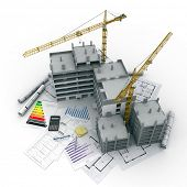 Building under construction with blueprints, bank forms, energetic efficiency charts, and a calculat