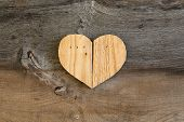 image of elm  - Love Valentines wooden heart from recycled old palette on old grey Elm background copy space - JPG