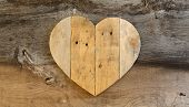 Love Valentines Wooden Heart On Old Elm Background