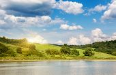 Fantastic panorama of morning lake with cumulus cloud. Poland, Europe. Beauty world.