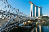 Marina Bay Sands And Modern Helix Bridge