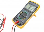 image of multimeter  - Black color digital multimeter isolated on white background